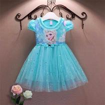 Vestido Infantil Frozen Elza Importado A Pronta Entrega