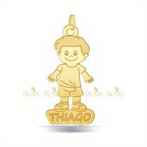 Pingente Menino Filhos Personalizado Em Ouro 18k