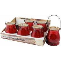 Display Com 6 Velas Em Lamparinas - Aroma De Canela