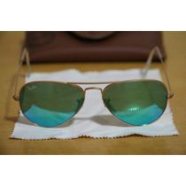 Ray-ban Aviator Rb3025 112/19 - Lente Verde Espelhado - Novo