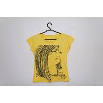 Blusa Feminina Amarela Estampada Manguinhas Cód. M6