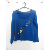 Blusa Feminina Azul Aplicacoes Flores Cód. 24 A 27