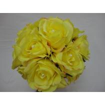 Buque De Noiva Casamento Rosas Amarelo Artificiais