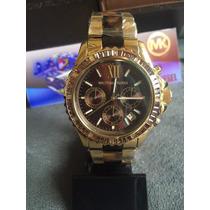 Relogio Michael Kors Mk5873 Gold Brown Original Completo