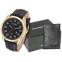 Kit Relógio Mondaine Masculino Com Carteira 76550gpmkdh2k1