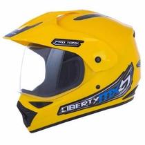 Capacete Protork Motocross Liberty Mx Vision Amarelo