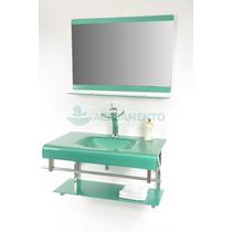 Gabinete De Vidro Banheiro 80 Cm Verde