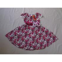 Vestido Infantil Festa / Aniversario Estampa Flores Algodão