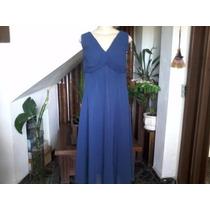 Vestido Social Longo Azul Marinho Em Poliéster Tamanho G.