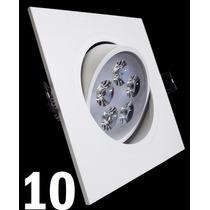 Kit 10 Spot Led Branco Luz Fria 5w Quadrada Teto Sanca Gesso