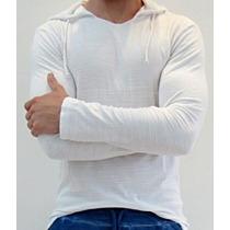 Camiseta Com Capuz Manga Longa Masculina Algodão Flame
