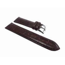 Pulseira Couro Legítimo Tipo Croco Marrom Escuro 26mm [g1]