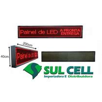 Painel De Led Letreiro Digital P10 200 X 40 Cm Vermelho Uso