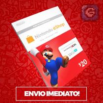 Cartão Nintendo 3ds - Wii U Eshop Cash Card $20 - Imbatível!