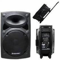 Caixa Ativa 15 Pol Ep1292 Com 2 Microfones S/ Fio - Bateria