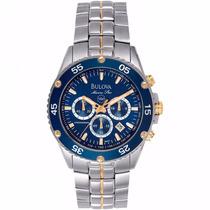 Relógio Bulova Marine Star Wb30686a Aço Azul E Dourado Lindo