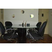 Mesa De Vidro Temperado Redonda Com 4 Cadeiras.