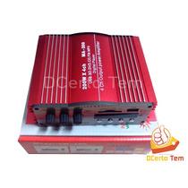 Potência Amplificador Carro 200w 4 Canais Usb Fm Mp3 Sd