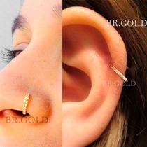 Piercing De Orelha Nariz Cartilagem Argola Dourada C/ Pedras