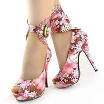 Sandalia Estampada Flores Importada Pronta Entrega!!!