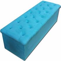 Puff Bau Retangular Pé De Cama Solteiro Azul Turquesa 90cm