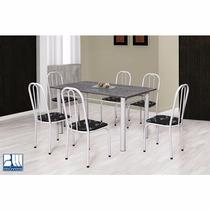 Conjunto Hortência Mesa E 6 Cadeiras Marcheli