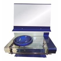 Gabinete De Vidro Azul P/banheiro - Com Espelho - 70cm