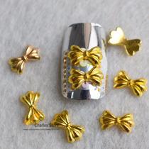 Nail Art Jóia Unha 4 Laços Duráveis Cor Ouro + 20 Figuras 2d