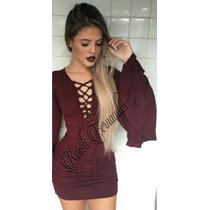 Vestido Feminino Cordão/ilhos Festa Roupas Direto Fabrica