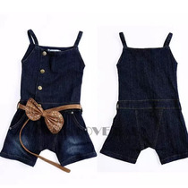 Macacão Jeans Infantil Menina