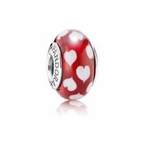 Charm Pandora De Prata E Murano Vermelho Apaixonado