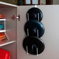 Suporte De Tampas Para Encaixar Na Porta Do Armário Cozinha