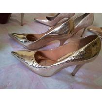 Sapato Scarpin Stylus By Vizzano - Dourado E Rose - Abaixou