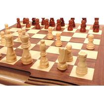 Jogo De Xadrez E Gamão Com Peças Tabuleiro Em Madeira 40x40