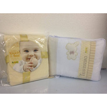 Kit Enxoval Para O Bebê Cobertor Bege Travesseiro Bordado