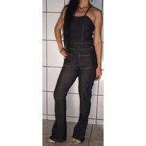 Macacao Jeans Flare Frente Unica Corujinha Tamanho M