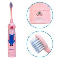 Escova De Dente Techline Elétrica Infantil Desenho Porco