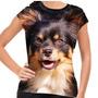 Camiseta Cachorro Chihuahua Pelo Longo Preto Marrom Baby Loo