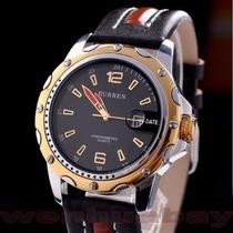Relógio Curren Original Importado Pulseira Em Couro De Luxo