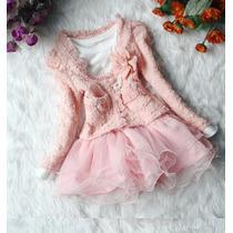 Conjunto Infantil Vestido + Bolero Importado Mangas Longas