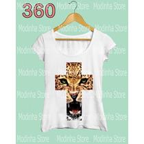 Camiseta Blusa Tshirt Feminina Estampa Cruz Animal Onça Look