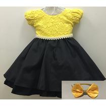 Vestido Infantil De Festa Luxo Abelha Com Tiara