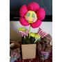 Vaso Com Flor De Tecido Artesanal - Decoração Mesa Festas