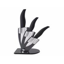 Kit 3 Facas Ceramica Expositor Acrilico Frete Gratis