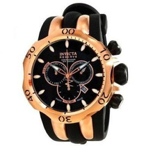 Invicta 10830 Mens Venom Rose Gold Tone Black Dial Rubber