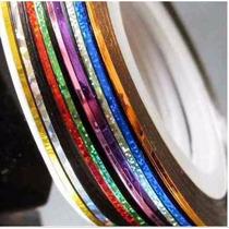 Kit 30 Rolos De Fita Metalizada Adesiva Unha - Frete Grátis