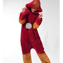 Pijama Adulto Macacão Homem De Ferro Herois Avengers Capuz