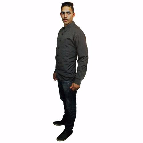 Camisa Social Masculina Slim Fit Cinza Pequenas Listras
