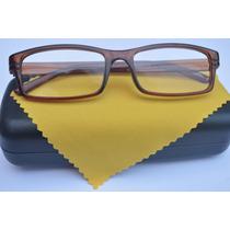 Óculos Grau Quadrado Unissex Marrom Colorido Fem Masc +0,75
