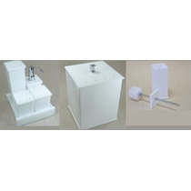 Kit Potes P/ Banheiro Acrílico Branco C/ Strass_personalizad